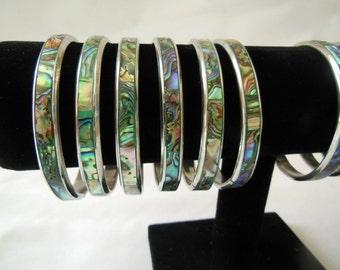 Abalone Bracelet Shell and Metal Bangle Bracelet