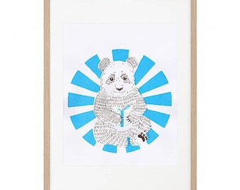 Little Panda_Children's art screen print blue