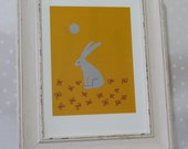 Hare with flowers in the moonlit garden- frame not included