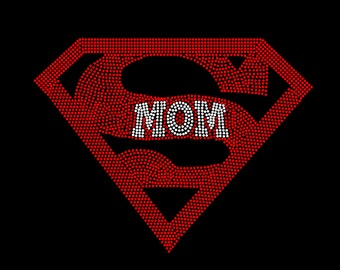 Super Mom Or Super Grandma You Choose RHINESTONE Iron On TRANSFER Hot Fix Bling