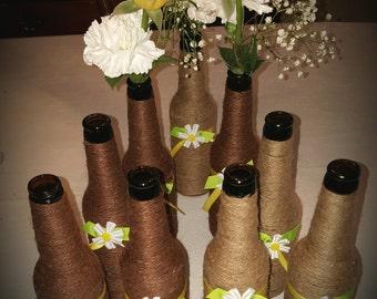 beer bottle twine vases