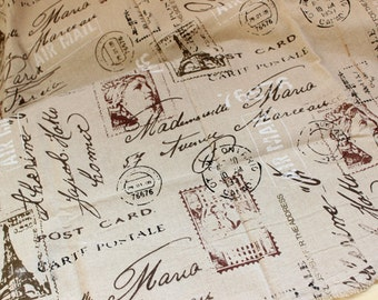 French script fabric,linen fabric,newspaper fabric,eiffel tower fabric,letter print fabric,vintage curtain fabric,linen tablecloth fabric