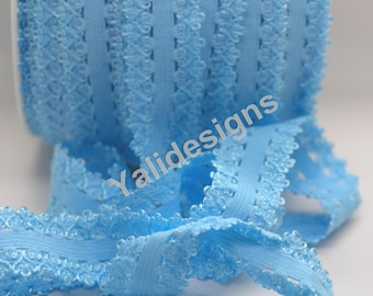 U Pick 1 or 5 or 10 Yards Blue 3/4''  Picot Edge Stretch Lace, Frilly edges elastic webbing,Lace for Headbands,Wholesale Headbands YTA35E