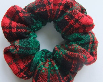 Red & Green Boucle Tartan Hair Scrunchie