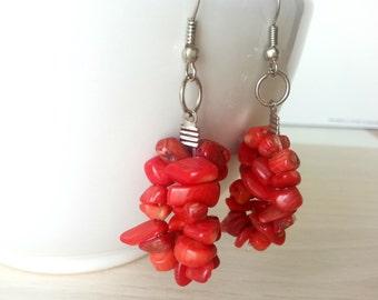 Red Coral Earrings, Red cluster earrings, Natural coral earrings, Handmade coral earrings, Red earrings, Gemstones red earrings