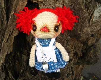 Raggedy Ann, crocheted doll