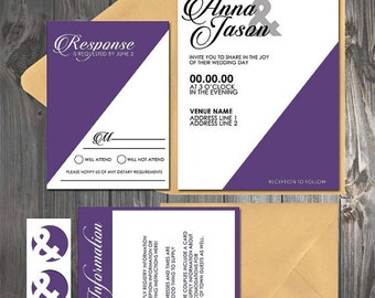 Modern Color Block Geometric Purple/White/Gold Wedding flat/pocket Invitation
