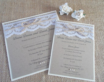 Lace wedding invitations – Etsy UK