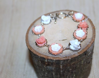 Peach and white flower bracelet
