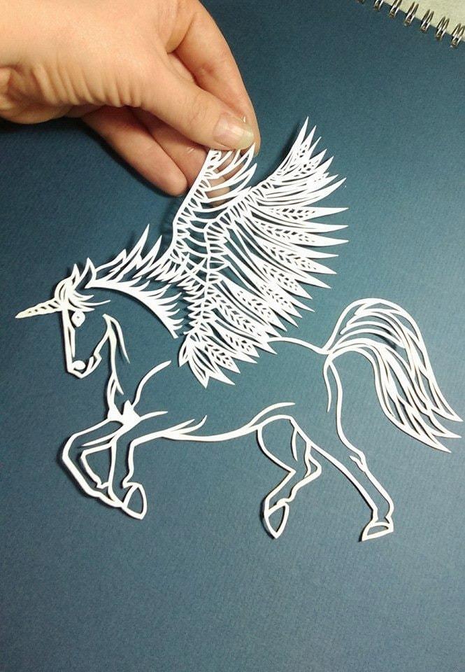 unicorn winged horse pegasus papercut template pdf download