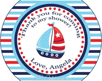 Natical Sailboat Thank You Favor Gift Tags - Printable Digital DIY Party Decorations