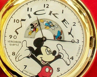 New Vintage Animated Mickey Mouse Pocket Watch! Retired! Out of Production! HTF!