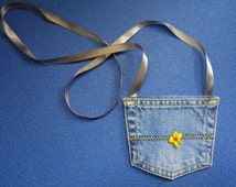 Mini denim bag | Jeans pocket purse | Sweet girls gift | Wearable flower purse | Denim jeans pouch | Upcycled blue jeans  | Cute eco gift