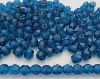 300 Dark Aqua blue 6mm, Preciosa Czech Fire Polished Round Faceted Glass Beads, Czech Glass Fire Polish Beads