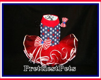 Patriotic 4th of July Dog Dress Stars and Stripes Princess Dog Dress Red White and Blue Dog Dress Prettiest Pets Designs!