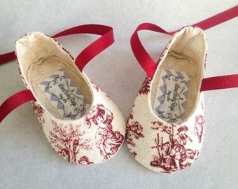Beautiful Crimson Red and Ivory Toile  Baby Girl Shoes, FREE  Embroidery, Personalized Booties Custom Baby Shoes, FREE personalization
