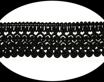 1.25 inches wide -- Made in Italy Black or Ivory Braided Cord Trim Craft Supplies Gimp Braid Cording Trimming DIY Sewing Notions BB073