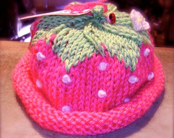 Adorable Strawberry Baby Hat In Pink or Red!