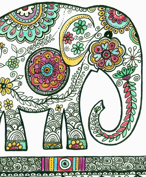 elephant dessin home decor indien populaire dessin par dhanadesign. Black Bedroom Furniture Sets. Home Design Ideas