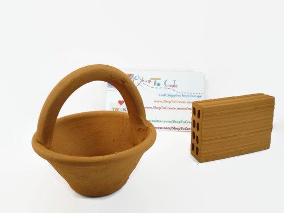 mini terracotta basket handmade pottery miniature pot. Black Bedroom Furniture Sets. Home Design Ideas