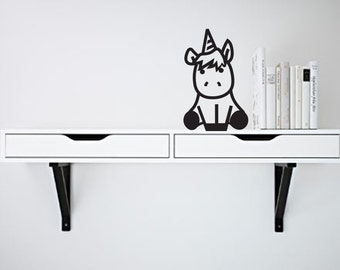 Wall Decal Cute Unicorn- Vinyl Door Decal- Home Decor- Wall Art