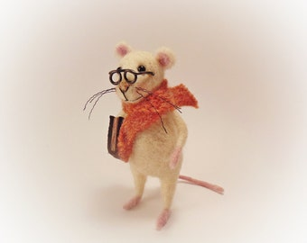 White Felt Mouse With A Book - Needle Felted - Art Doll