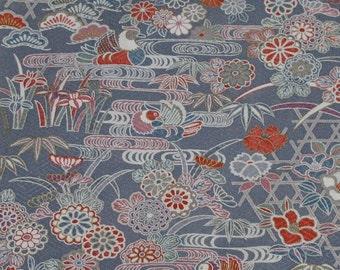Vintage Japanese Silk Kimono Fabric Bingata Style Ducks and Chrysantehmum