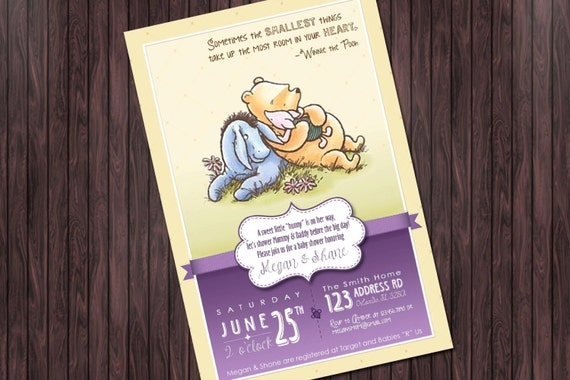 classic winnie the pooh baby shower 1 invitation custom diy