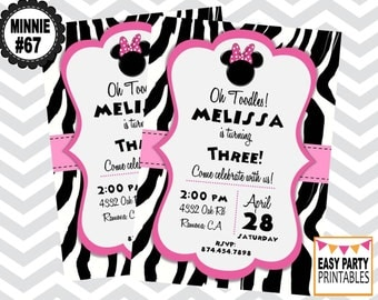 Minnie Mouse Zebra Invitation, Minnie #67, Huge Selection, Minnie Party, Personalized, DIY, Printable,  Invitation,  5x7, Choose colors