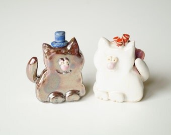 Cat Wedding Cake Topper, Wedding Cake Topper, ceramic cat cake topper wedding, bride and groom cats, Ceramic Cake Topper by Her Moments