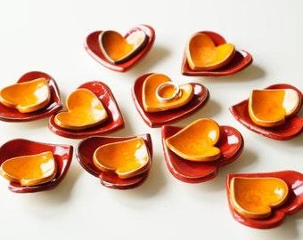 Wedding Favors Ceramic Heart Bowl, 10 sets (2 pieces each), Little Heart Bowl, Wedding Favors
