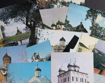 Vintage Soviet Russian Postcards 15 Views of Novgorod in Color Collectables Crafts Collage Scrapbooking Cardmaking Supplies