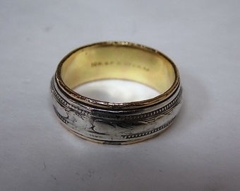 Unique Vintage Estate 10K Yellow Gold and .925 Sterling Silver Ring, 4.35g E1742