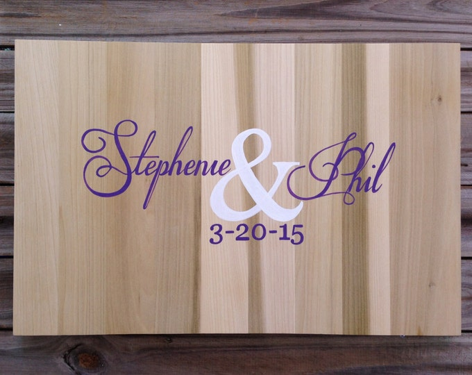 Wedding Guest book Alternative Wood Sign, Rustic Guestbook with Hearts and Initials, Wedding signature book gift for couple
