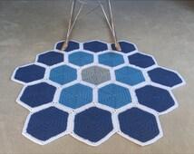Handmade Crochet Floor Rug - Hexagon