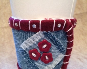 Repurposed Denim Coffee Sleeve With Fleece Liner, Swarovski Crystals // Burgundy, Buttons, Frayed Square