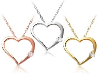 Diamond Heart Pendant in 14K White Rose or Yellow Gold
