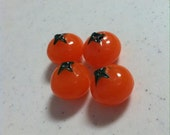 Resin Tomato Cabochon, 10 pieces