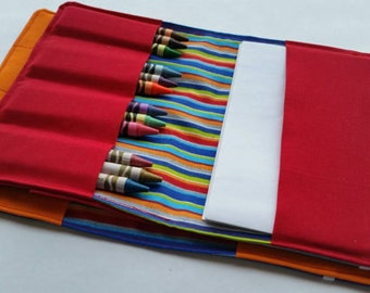 Crayon wallet, party favors, set of 5 crayon wallets including 10 crayons and note paper in each, choose your fabric