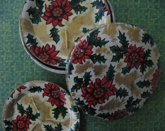 Vintage Christmas Set of 8 Lacquered Cardboard Coasters in Box Poinsettias and Holly Motif Japan 1950's