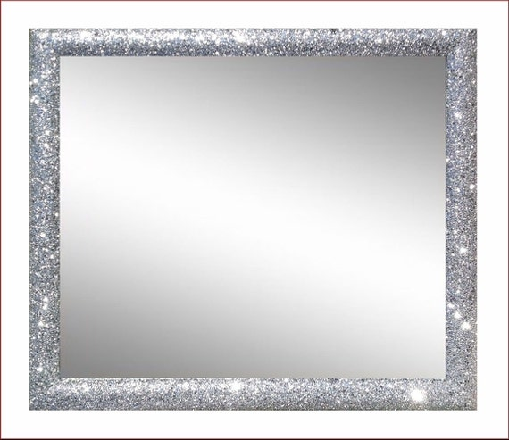 miroir 70 x 80 rond cadre de 5 cm paillettes argent par modiarte. Black Bedroom Furniture Sets. Home Design Ideas