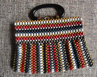 Beaded Handbag - Colorful Wooden Beads and Lucite Handle