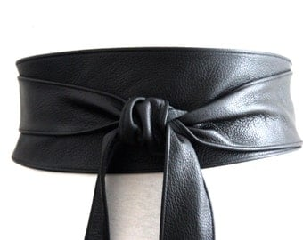 Black Obi Belt, Leather Belt, Waist Tie belt,  Leather Obi Belt, Plus Sizes,  Black Belt, Black Wrap Belt