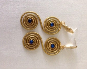 Golden Grass earrings with blue swarovski crystals