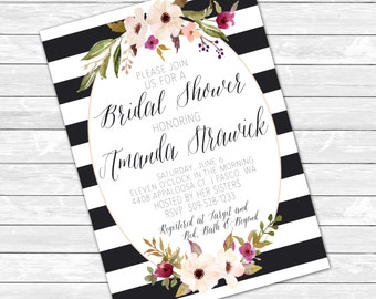 "Flora Bridal Shower Invitations 5"" x 7"""