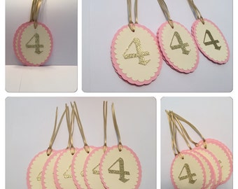 Number Pink & Gold Favor, Thank You Tags, Princess Party, Vintage Party Tags, Treat Tags Gold And Pink Thank you Tags