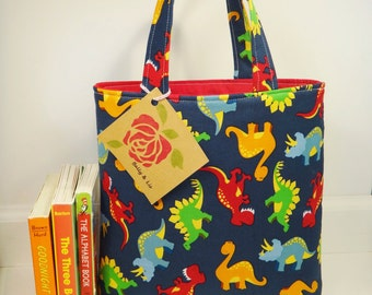 Dinosaurs Tote Bag, Mini Tote Bag, Toddler Tote Bag, Boys Tote Bag, Dinosaurs Bag, Boys Bag, Kids Tote, Book Bag