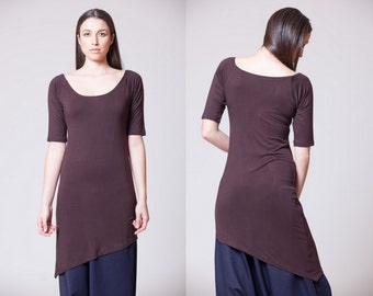 Asymmetrical Top Summer Tunic Short Sleeves MT301