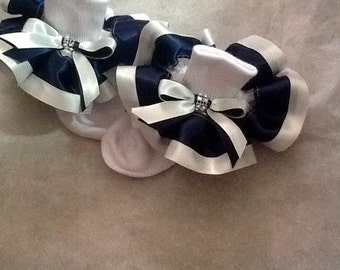 Girls navy and white ruffle trim