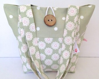 Sage Daisy & Dotty Tote Bag, Small Lunch Bag, Small Tote Bag